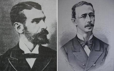 A la izquierda, Isaac Peral con 21 años. Junto a él, Cecilio Pujazón.